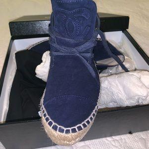 Chanel Navy Blue Lace up Espadrilles 38
